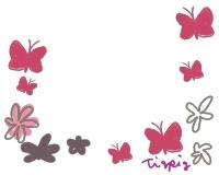 フリー素材。ちょう(蝶々)と花のイラスト。シンプルでガーリーな素材。