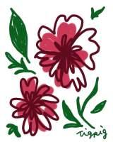 フリー素材。花のイラスト。レトロでガーリーな北欧風の素材。