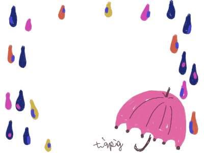 フリー素材:フレーム素材。400pix<br>  ガーリーでポップな雨と傘のイラスト。