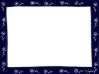 フリー素材:フレーム素材(640pix)<br>  ガーリーな紺色の小花のイラスト素材。