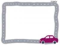 フリー素材:フレーム素材<br />  ガーリーな紫の自動車のイラスト素材(640pix)