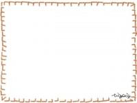 フリー素材:ラブリーな茶色のステッチ風イラストのフレーム素材(640pix)