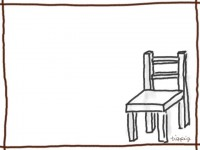 フリー素材:ガーリーな木製の椅子(キッズチェア)のイラスト:フレーム素材