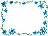 フリー素材:フレーム;ガーリーな青い小花のイラスト素材