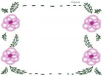 フリー素材:フレーム;ガーリーで大人可愛いピンクの花のイラスト素材