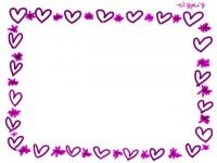 フリー素材:フレーム;ピンクのハートと小花のイラスト素材