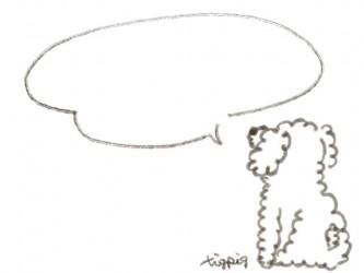 webデザイン素材:吹出し;ネットショップのバナー素材に使える犬(プードル)のフリー素材