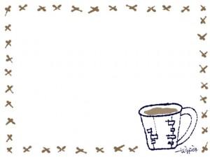 フリー素材:フレーム;北欧風コーヒーカップのwebデザイン素材。