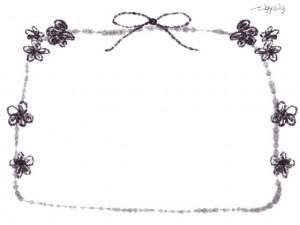 フリー素材:フレーム;ガーリーなモノクロの花とリボンのイラストのwebデザイン素材。
