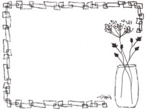 webデザイン素材:フレーム;北欧の茶色の花のイラスト素材