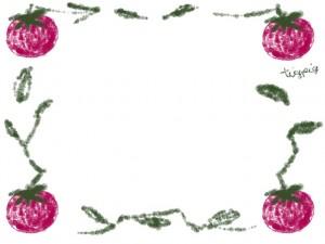 フリー素材:フレーム;夏の野菜(トマト)のイラスト。webデザイン素材。