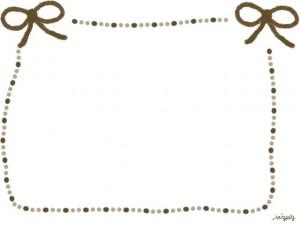 フリー素材:ガーリーな秋色のリボン(茶)のフレーム素材