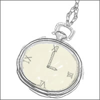 フリー素材:twitter,mixiアイコン;懐中時計のイラストのwebデザイン素材。