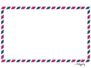 フリー素材:フレーム:ガーリーなエアメール封筒のイラストのwebデザイン素材。