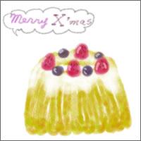 フリー素材:Twitter,mixi,アイコン:200pix;ガーリーな苺とブルーベリーのクグロフのクリスマスケーキのwebデザイン素材
