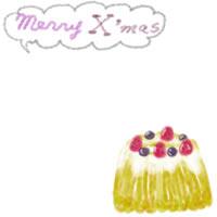 フリー素材:バナー・アイコン:200pixサイズ;苺とブルーベリーのガーリーなクグロフ(ケーキ)のwebデザイン素材