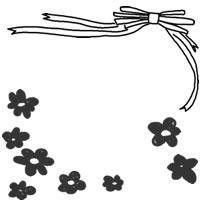 フリー素材:バナー・アイコン:200pix;モノクロの花とリボンのイラストのwebデザイン素材