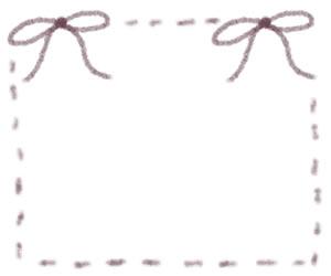 フリー素材:バナー広告:300×250pix;紫のリボンとステッチのガーリーな飾り枠のwebデザイン素材