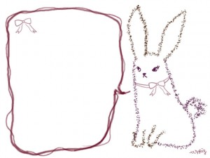 フリー素材:フレーム:640×480pix;紫のリボンの大人かわいいうさぎとガーリーな吹き出しのwebデザイン素材