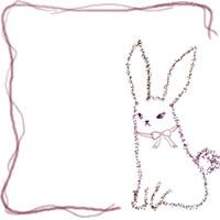 フリー素材:バナー・アイコン:200pix;紫のラインの大人かわいいうさぎのwebデザイン素材