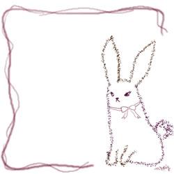 フリー素材:バナー・アイコン:250pix;紫のガーリーなラインと兎の飾り枠のwebデザイン素材