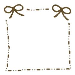 フリー素材:バナー・アイコン:250pix;秋色リボンとスッテッチラインの飾り枠のwebデザイン素材