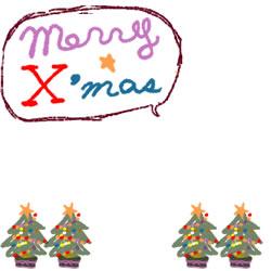 フリー素材:バナー・アイコン:250pix;クリスマスツリーとmeeryXmasの吹出しのイラストの飾り枠のwebデザイン素材