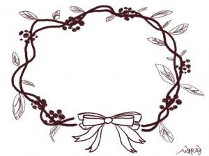 フリー素材:フレーム・飾り枠:640×480pix;大人かわいい茶色のリボンと葉っぱのリースの飾り枠