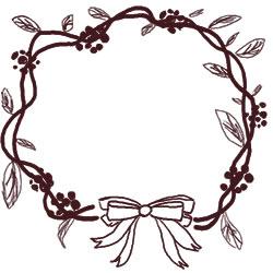 フリー素材:バナー・アイコン:250pix;大人かわいい茶色のリボンと葉っぱのクリスマスリースの飾り枠のwebデザイン素材