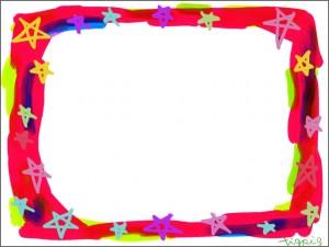 フリー素材:フレーム・飾り枠:640×480pix;ポップでガーリーな星いっぱいの飾り枠のwebデザイン素材