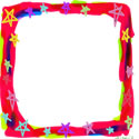フリー素材:バナー:125pix,スクエアボタン;ポップで大人かわいい星いっぱいの飾り枠のwebデザイン素材
