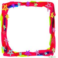 フリー素材:バナー・アイコン:200pix;ポップでガーリーな星いっぱいの飾り枠のwebデザイン素材