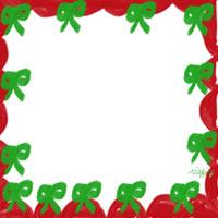 フリー素材:バナー・アイコン:200pix;大人かわいいリボンと飾り枠のクリスマスのwebデザイン素材