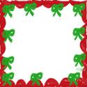 フリー素材:バナー:125pix,スクエアボタン;大人かわいいリボンと飾り枠のクリスマスのwebデザイン素材