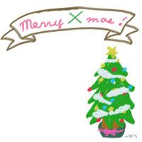 フリー素材:アイコン;大人かわいいmerryxmasのリボンとクリスマスツリーのガーリーなwebデザイン素材
