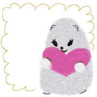 フリー素材:バナー・アイコン:200pix;白いハムスターとピンクのハートともこもこラインのバナー広告の素材
