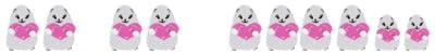 フリー素材:飾り罫・罫線:白いハムスターとピンクのハートの大人かわいいwebデザイン素材