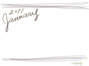 大人かわいい手描き文字2011Januauyとラフな飾り枠(茶色)のガーリーなwebデザイン素材