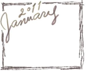webデザイン用フリー素材:バナー広告:300×250pix;大人かわいい茶色の手描き文字2011Januauyとラフな飾り枠
