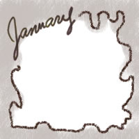 アイコン(twitter,mixi,ブログ)のフリー素材:大人かわいい手描き文字Januaryとチョコクリームみたいな茶色の飾り枠のwebデザイン素材