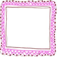 フリー素材:バナー・アイコン:200pix;ピンクの大人かわいい手編みレース風飾り枠。バレンタイン、ホワイトデーのwebデザイン素材