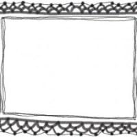 フリー素材:フレーム・飾り枠:640×480pix;モノクロの大人かわいい手編みレース風飾り枠のバレンタイン、ホワイトデーのwebデザイン素材