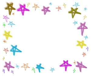 バナー広告、webデザインのフリー素材:300×250pix;カラフルで大人かわいい星の飾り枠。バレンタイン、ホワイトデーのwebデザインに。