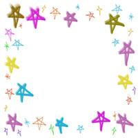 アイコン、バナー広告のフリー素材:カラフルで大人かわいい星の飾り枠。バレンタイン、ホワイトデーのwebデザイン素材