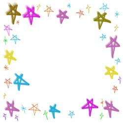 バナー広告、アイコンのフリー素材:カラフルで大人かわいい星の飾り枠のバレンタイン、ホワイトデーのwebデザイン素材-250pix