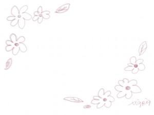 ネットショップ、webデザインのフレーム素材:大人かわいいピンクの鉛筆風のシンプルな小花のイラストの飾り枠