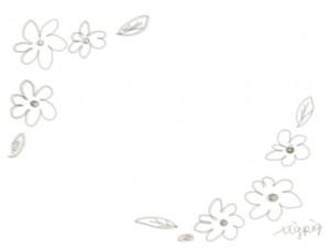 ネットショップ、webデザインのフリー素材:ブラウンブラックの鉛筆風ラインの大人かわいい小花の飾り枠