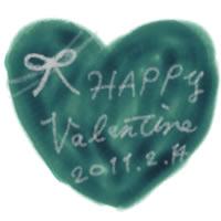 ネットショップ、バナー広告、webデザインのフリー素材:壁紙・背景・デクスチャ;青緑のバレンタインのハートと大人かわいいValentine2011214の手書き文字のイラスト