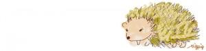 ネットショップ、webデザインのフリー素材:ガーリーなハリネズミのイラストのヘッダーの背景画像