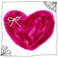 バナー広告、ネットショップ、アイコン制作のwebデザイン素材:大人可愛い赤色のハートとアンティーク風の飾り枠のフリー素材